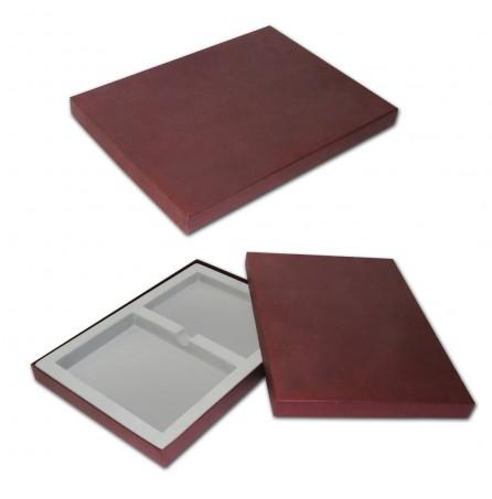 Подарочная коробка под ежедневник и визитницу (бордовая)