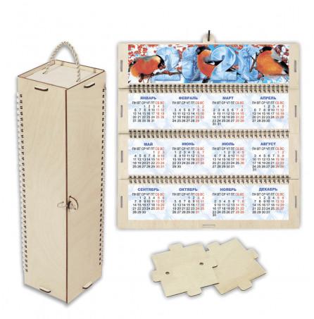 """Футляр-календарь деревянный 4-гранный """"Снегири-2"""""""