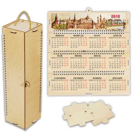 "Футляр-календарь деревянный 4-гранный ""Ретро"""