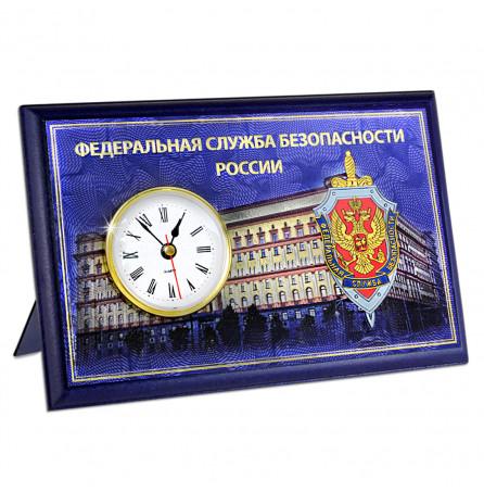"""Настольная плакетка """"ФСБ"""", с часами и ножкой"""