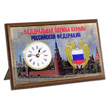 """Настольная плакетка """"ФСО"""", с часами и ножкой"""