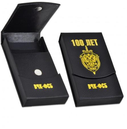 Визитница «100 лет ВЧК-ФСБ» (вертикальная, черно-желтая)