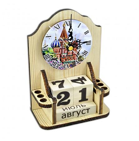 """Вечный календарь """"Московское время"""" с часами и карандашницей"""