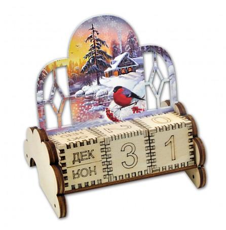 """Настольный вечный календарь """"Зимний снегирь"""""""